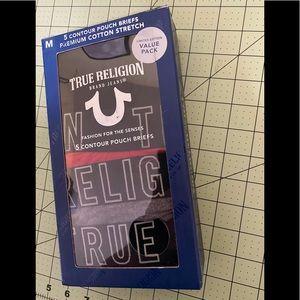 True religion designer briefs 4 pairs new in box M